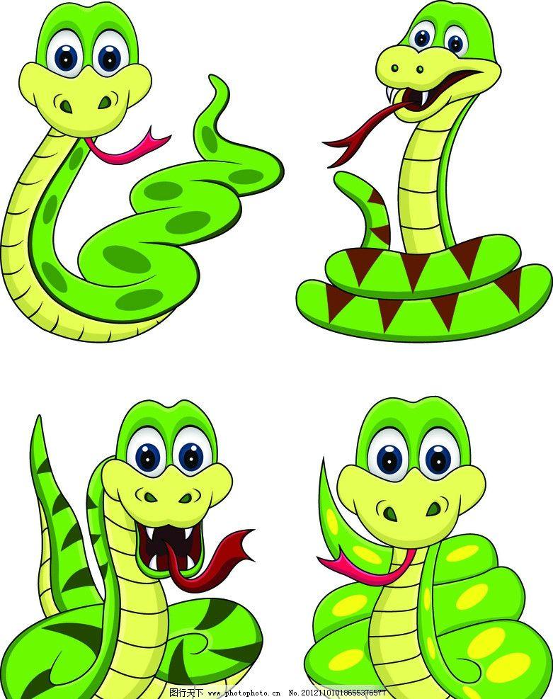 绿色卡通蛇图片