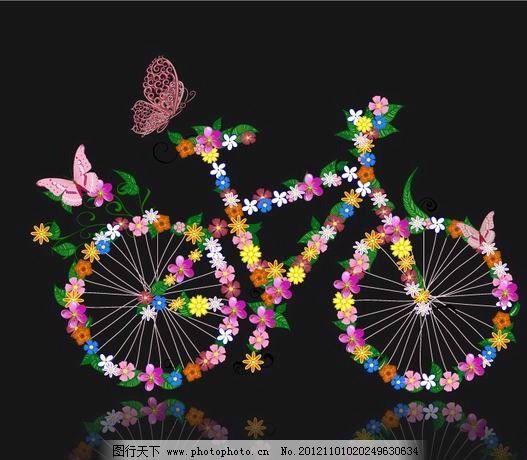 鲜花蝴蝶自行车图片