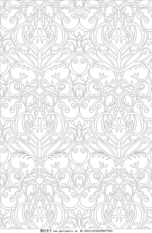 欧式白描花纹边框
