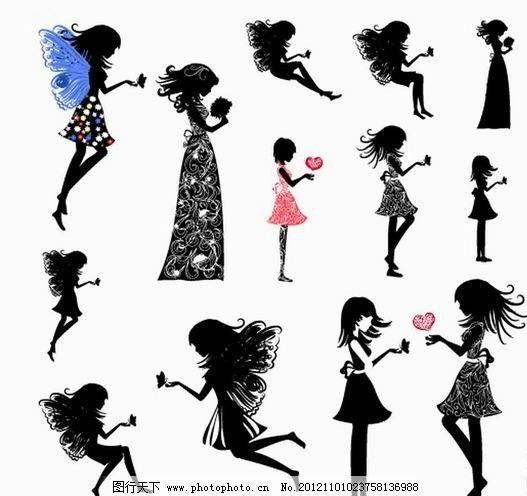 天使花纹美女 浪漫 温馨 蝴蝶 手绘 女孩 美女 女人 少女 天使 姑娘