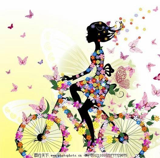 满身鲜花蝴蝶骑着自行车的美女 浪漫 温馨 骑车 手绘 女孩 女人