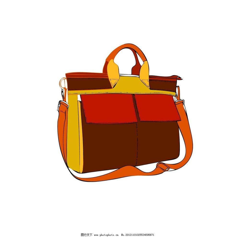 彩色包包 红色 黄色 包包 线描手绘图 生活用品 生活百科 矢量 ai