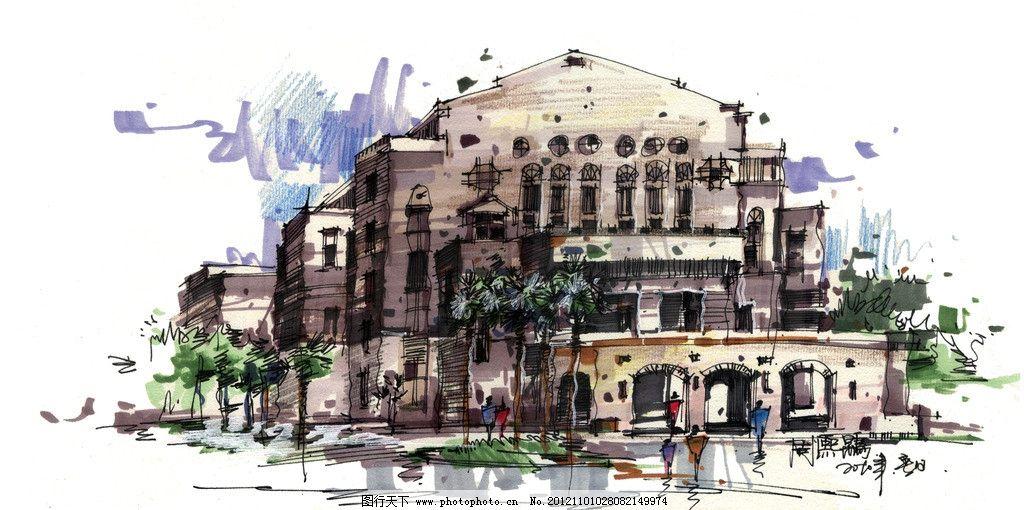 建筑彩绘 周熙鵾 古典建筑 马克笔表现 快速表现 建筑手绘