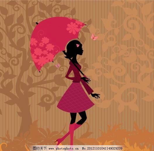 漫 温馨 花纹树 树花纹 草地 手绘 女孩 美女 女人 少女 天使 姑娘