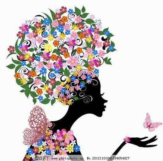 浪漫鲜花蝴蝶女孩 温馨 手绘 美女 女人 少女 天使 姑娘 优雅