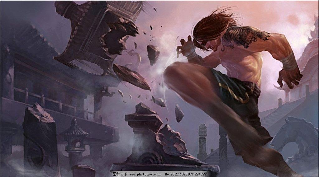 盲僧 英雄联盟 各路英雄海报 纹身 破坏 硬汉 动漫人物 动漫动画 设计