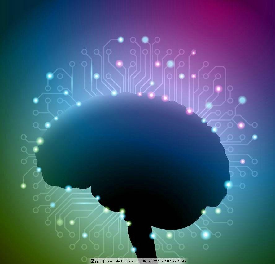 大脑电路图 科技背景图片