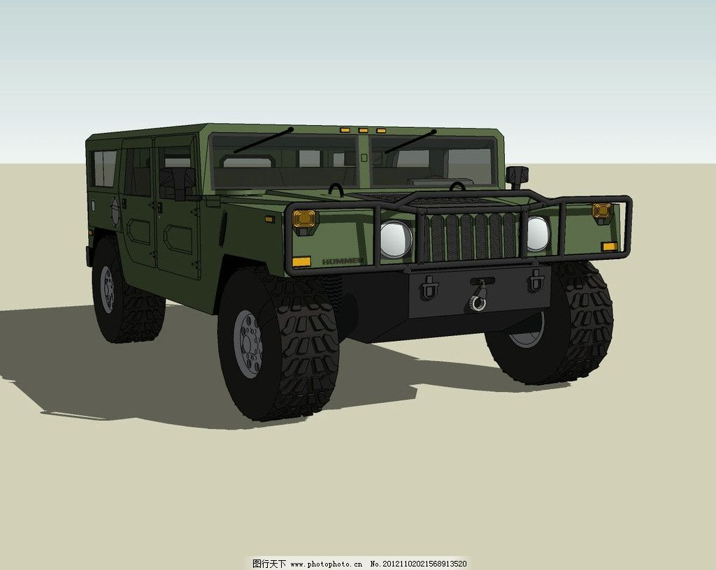 军车精细3d模型 吉普 军用 汽车 悍马 越野车 三维 立体 造型