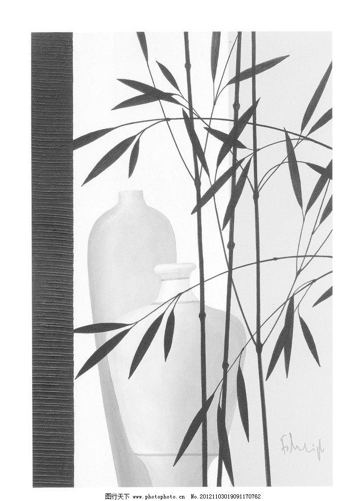 黑白中国画水墨竹子图片