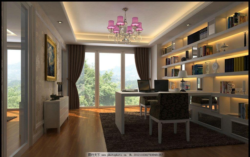 书房 别墅 书架 桌椅 简洁 现代        室内设计 环境设计 设计 72