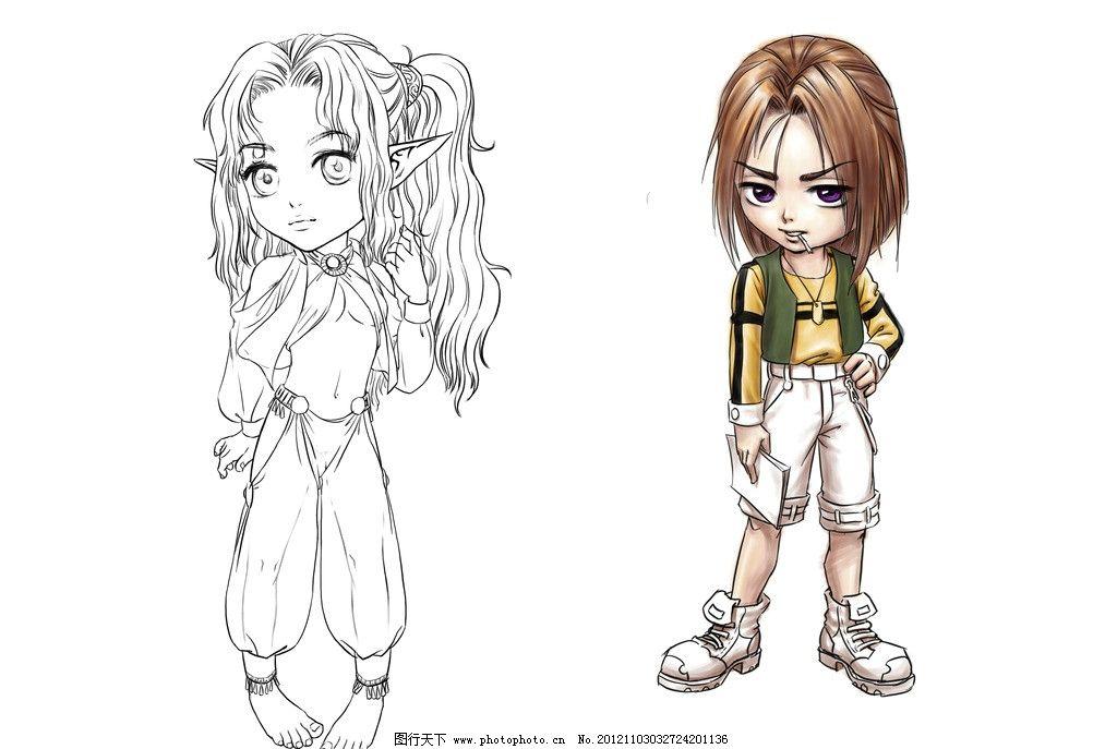 手绘动漫人物分层 萝莉 角色 卡通 女孩 男孩 可爱 日式 日本