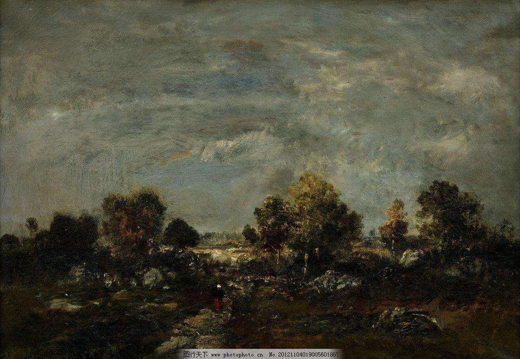 风景油画 油画 风景 绿树 人物 树木 油画风景 古典画 装饰画 绘画