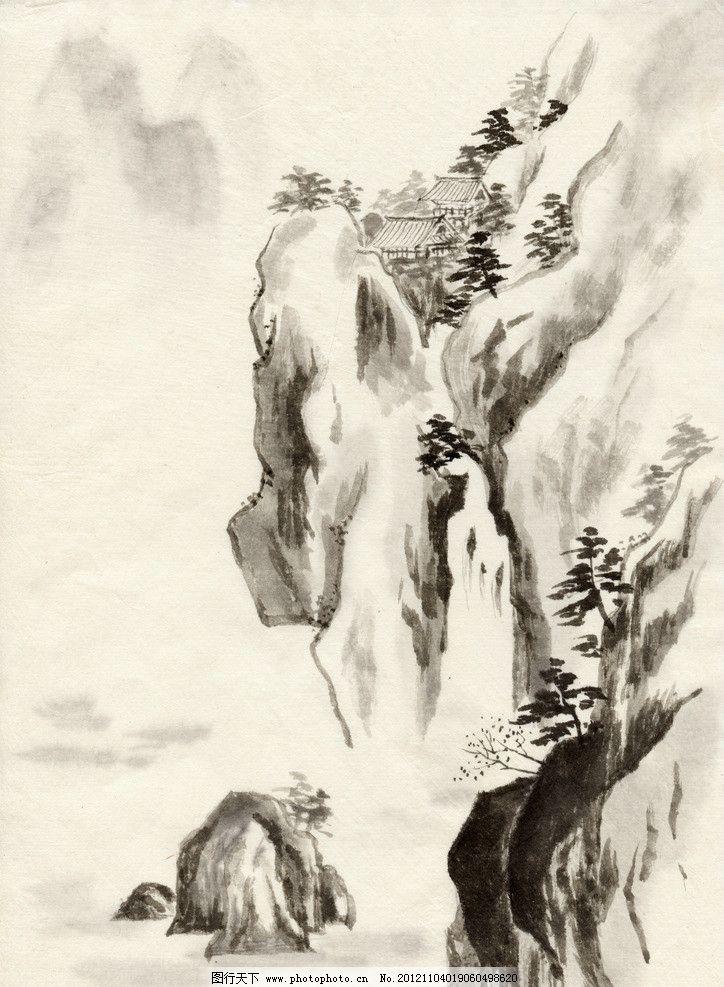 水墨山水 水墨画 山水画 仿古 古典 山 水 云 流水 古建筑 树 绘画