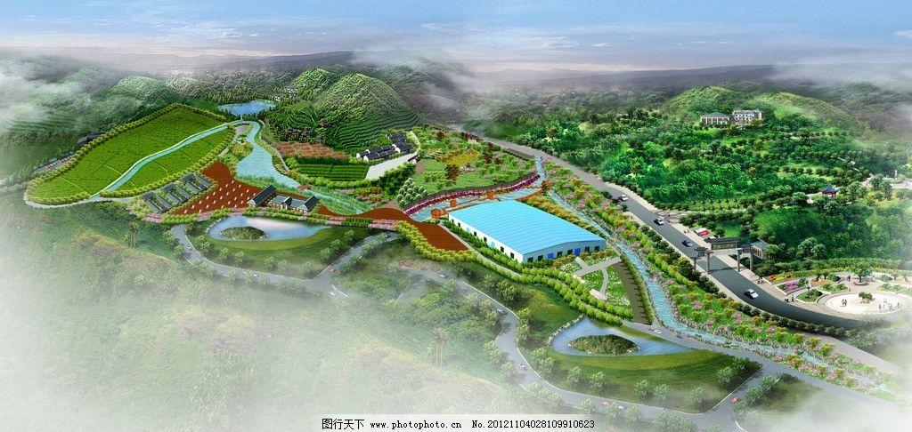 校园生态建筑景观_基地鸟瞰图 园林 生态 景观 河道 建筑 绿化 田地