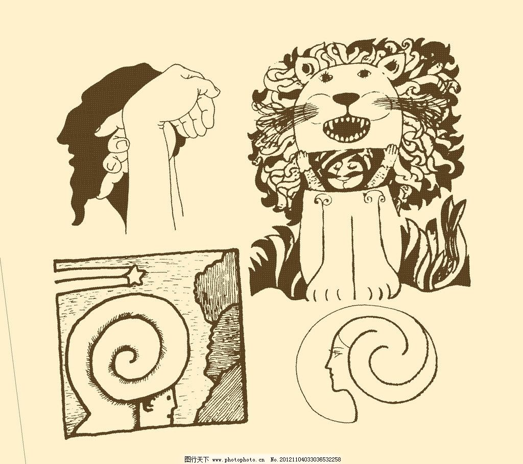 卡通画 简笔画 儿童画 卡通 漫画 线描 黑白画 幼儿 狮子 psd分层素材