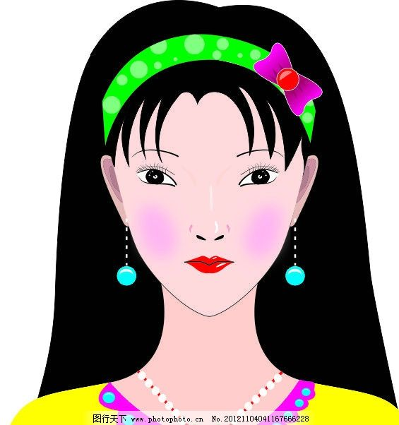 矢量美女 自画美女 手绘 手绘美女 鼠绘美女 美丽五官 精美五官