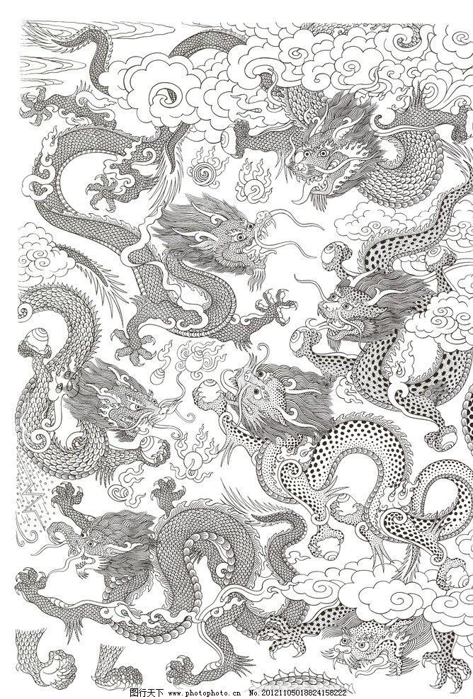 藏式图片 龙 藏式龙 白云 龙与云 打雷 七条龙 龙宝 黑图龙 画龙 传统图片