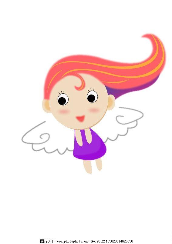 可爱 卡通人物 小女孩 翅膀天使 紫色 红色 其他 儿童幼儿 矢量人物