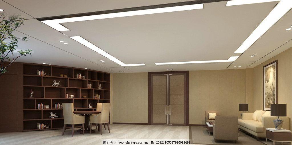 办公室效果图侧面 壁柜 圆桌 椅子 门 沙发 壁画 木地板 吊灯 台灯