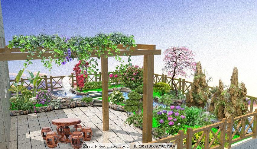 屋顶花园效果图 花架 假山 梅花 卵石路沿 茶花 休闲桌 中式围栏图片