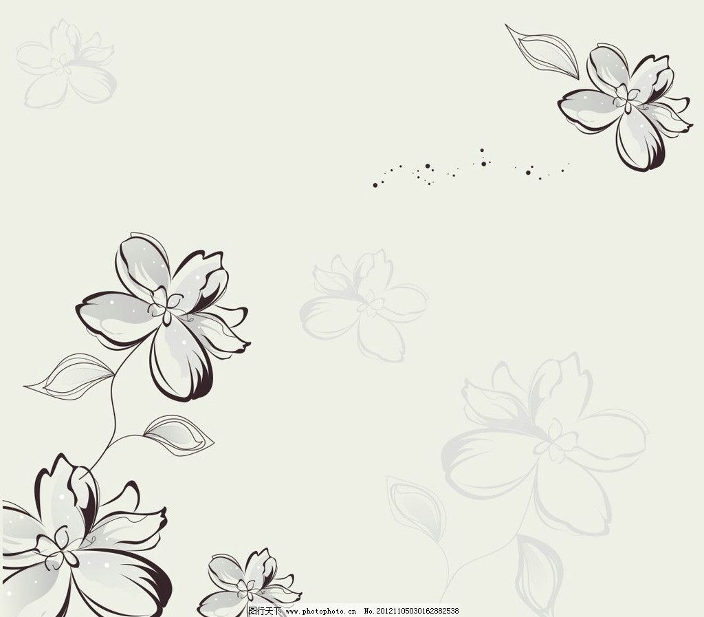 线描花朵 花 线描 移门 花纹 底纹 4朵花 移门图案 广告设计 矢量 cdr
