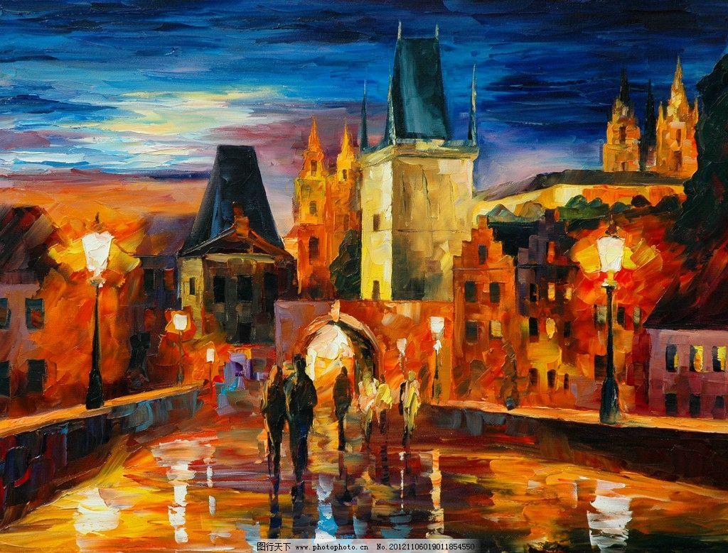 油画 布拉格之夜 油画风景 绘画 艺术 油画艺术 夜景 夜晚城市 布拉格