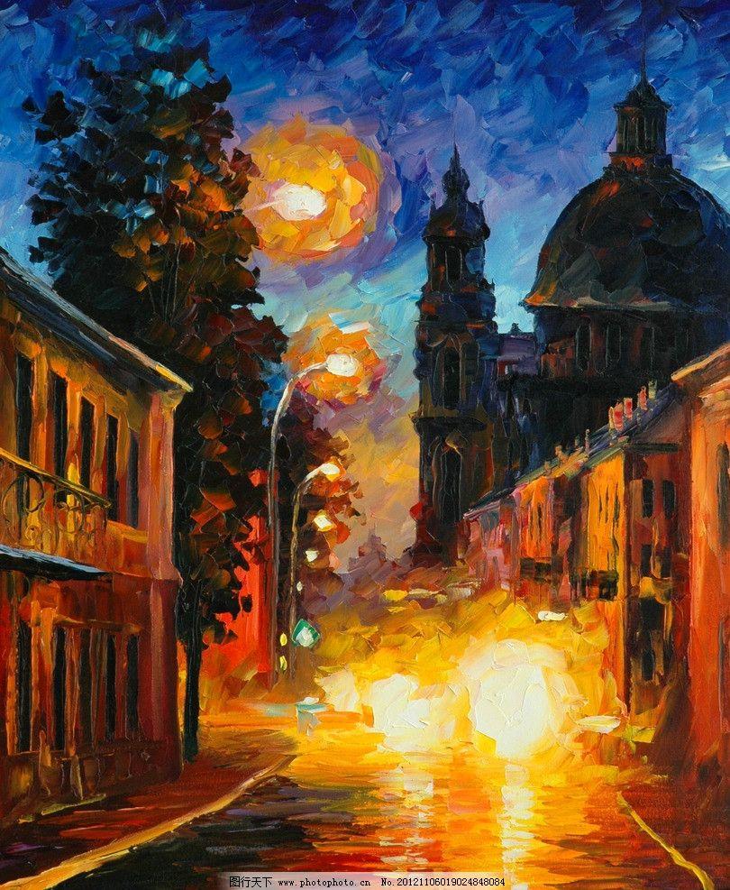 油画 沉睡的城市 油画风景 绘画 艺术 油画艺术 夜景 城市夜景 夜晚