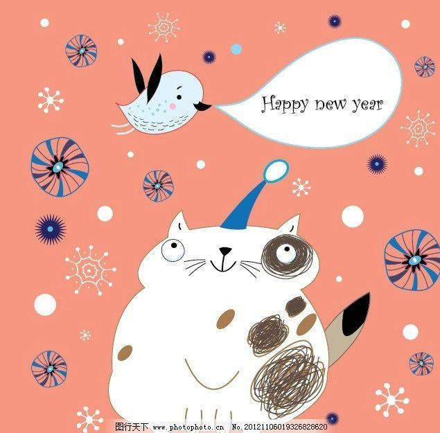手绘卡通猫咪新年圣诞背景 可爱 小猫 小鸟 线条 清新 心 圣诞树