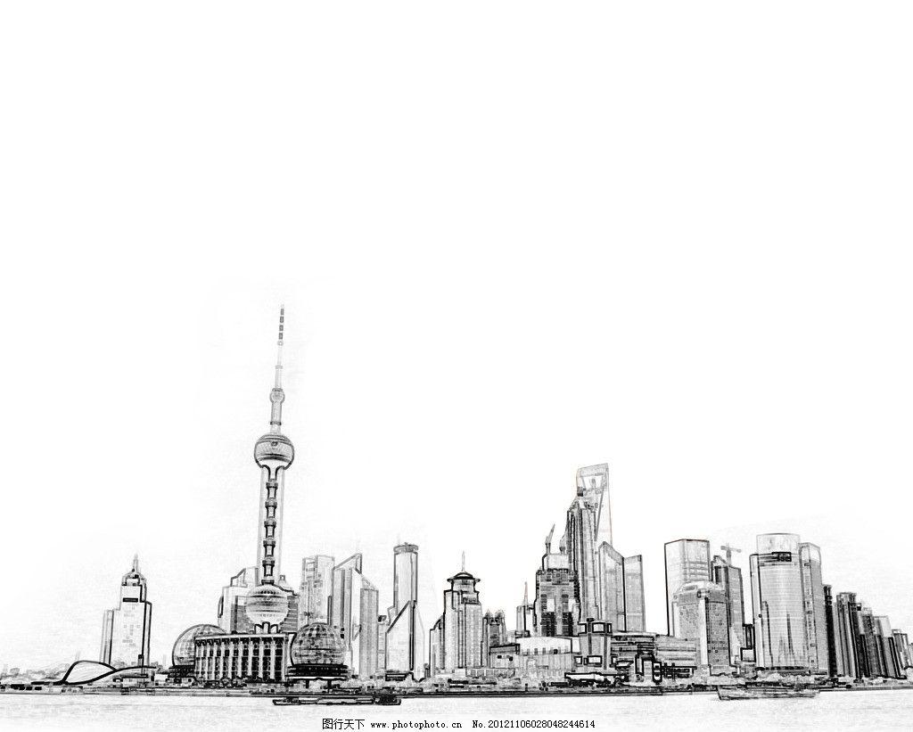 上海陆家嘴手绘图图片