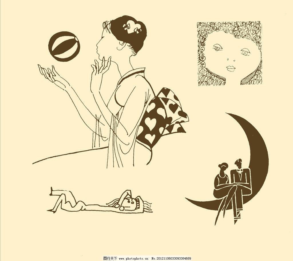 卡通画 简笔画 儿童画 卡通 漫画 线描 黑白画 幼儿 psd分层素材 源文