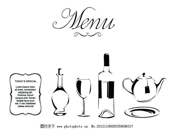 矢量简单线条菜单封面设计
