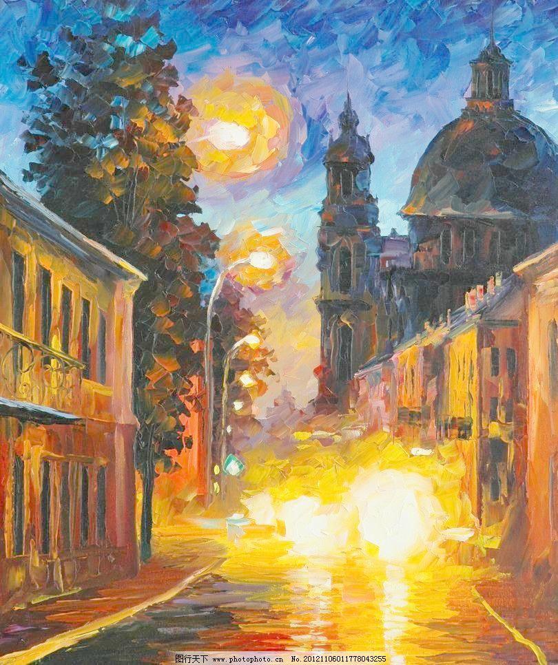 沉睡的城市模板下载 沉睡的城市 油画风景 绘画 艺术 油画艺术 夜景