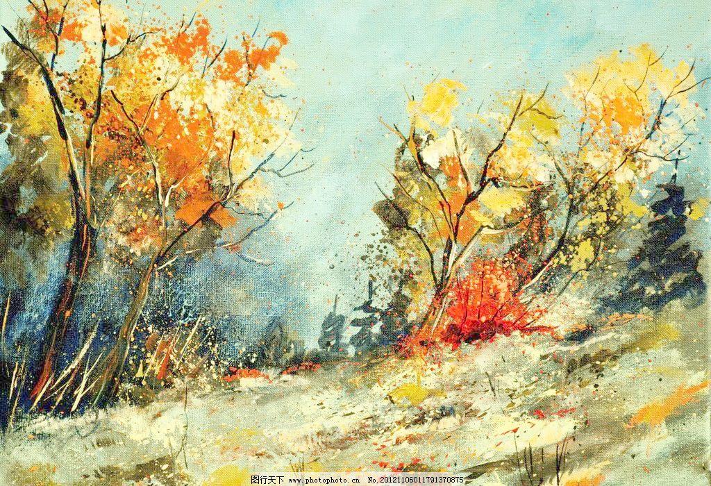 油画风景 绘画 艺术 油画艺术 山坡 树木 树林 秋天 秋树 西方油画