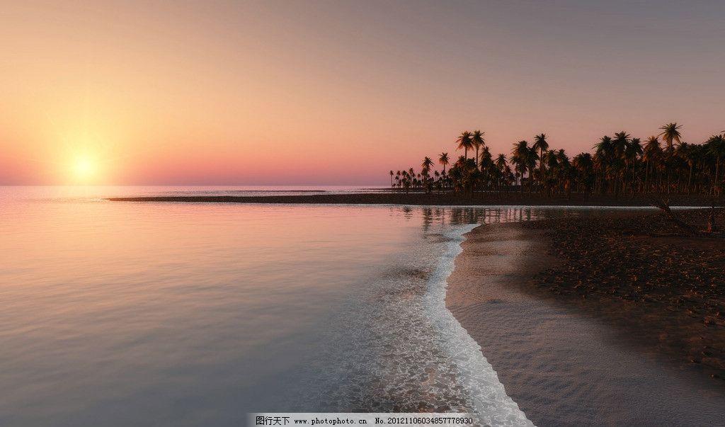 沙滩 夕阳 椰树 岛屿 海南 旅游 日出 风景 浪花 自然景观 自然风景