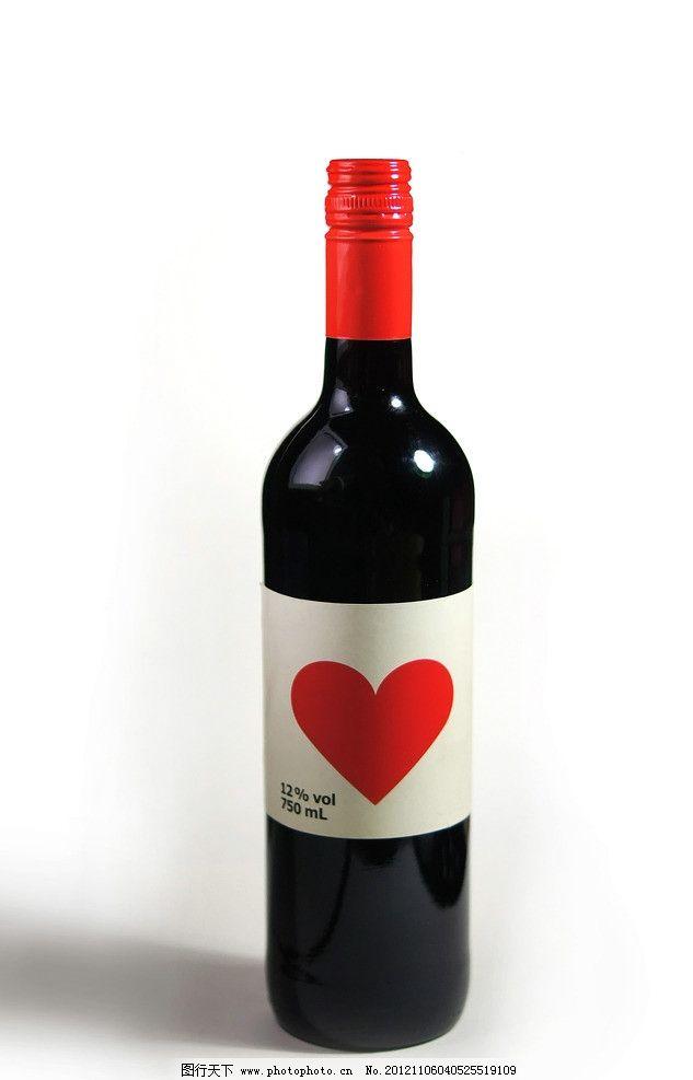 心形红酒 心形 红酒 酒瓶 红酒酒瓶 酒 瓶子 红心 饮料酒水 餐饮美食