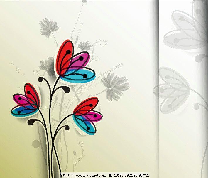 美丽 盛开 灿烂 手绘 可爱 简约 装饰 设计 背景 矢量 手绘可爱花纹花