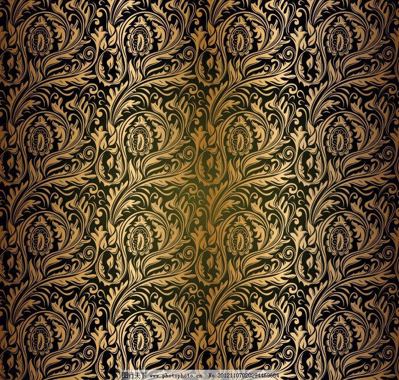 欧式金色花纹 无缝古典花纹图片