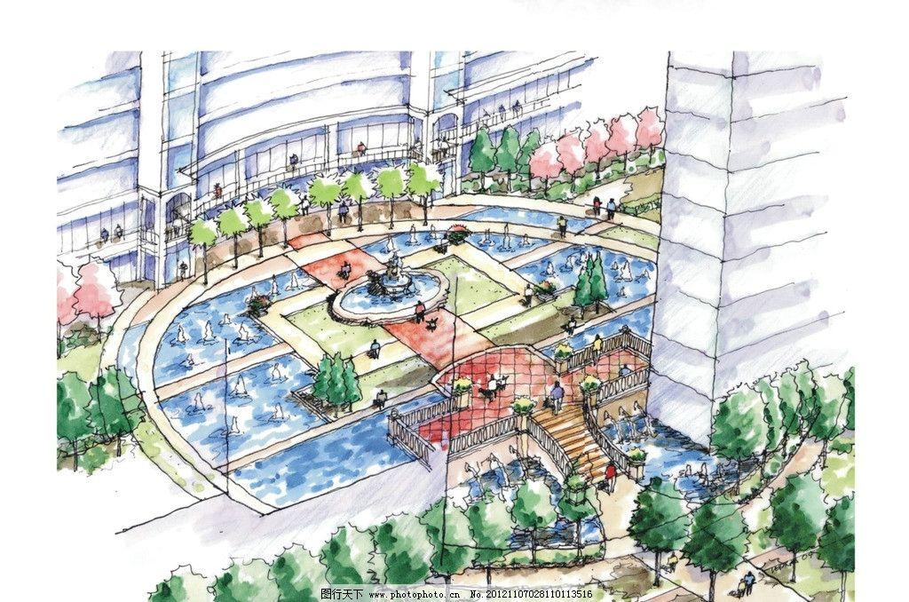 手绘景观鸟瞰图 手绘 鸟瞰图 广场 建筑 喷泉 绿化 景观 水景 景观