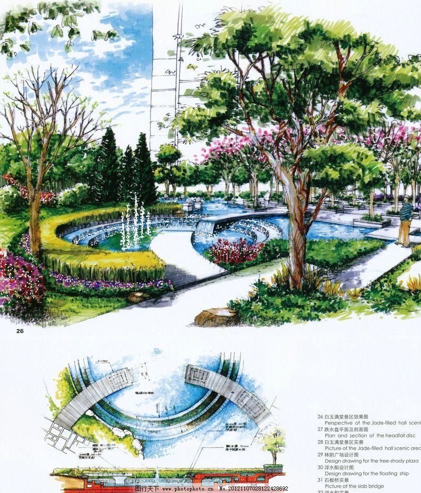 手绘景观效果图 园林 平面图 植物 水景 绿化 喷泉