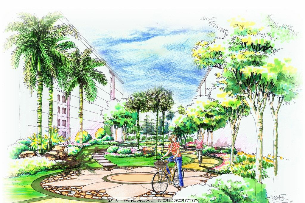 手绘景观效果图 手绘 景观 园林 植物 游人        景观设计 环境设计