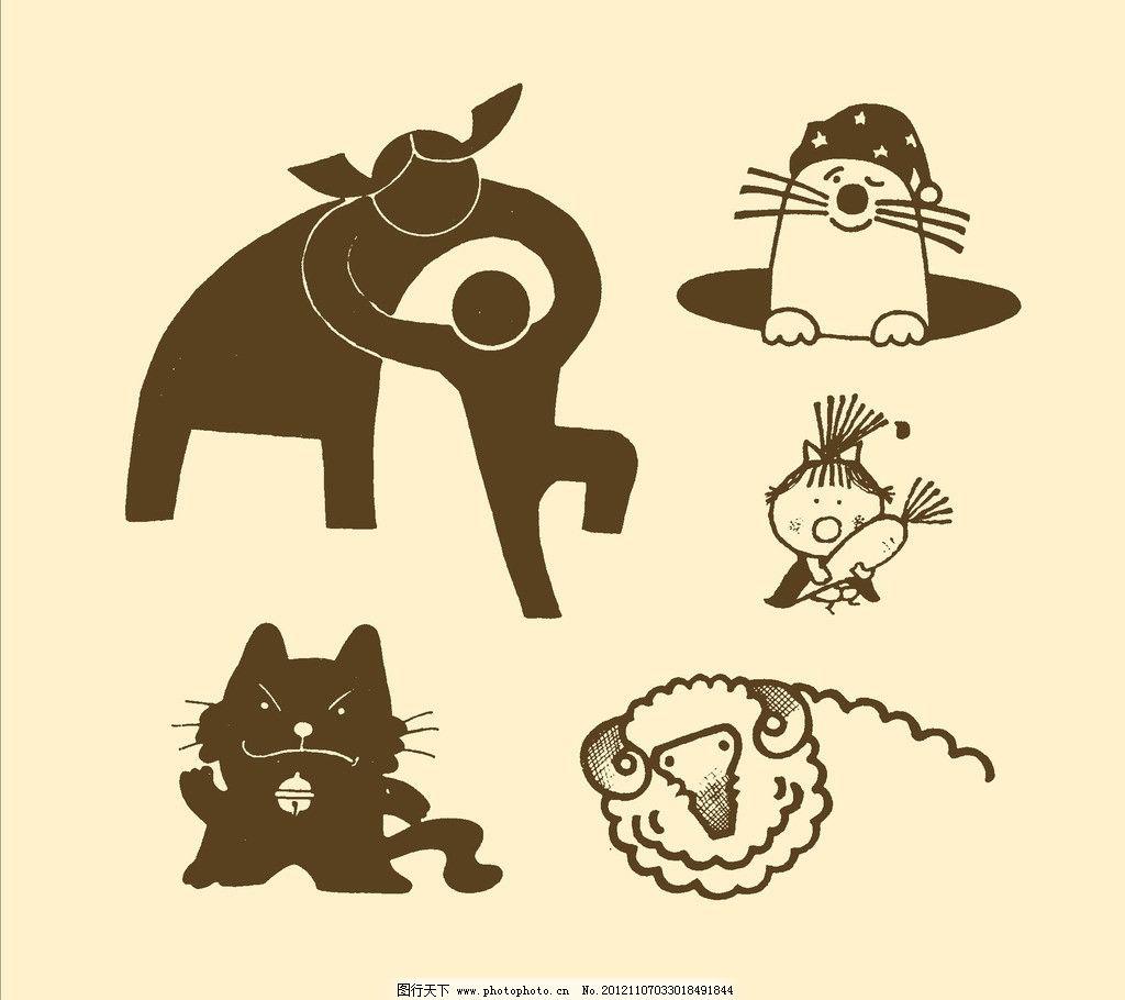 卡通画 简笔画 儿童画 漫画 线描 黑白画 幼儿 源文件