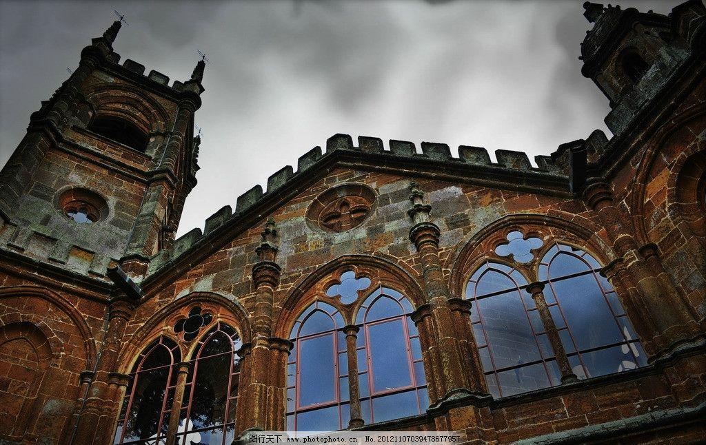 教堂 欧式 红砖 建筑风格 仰角 仰视 天空 建筑摄影 建筑园林