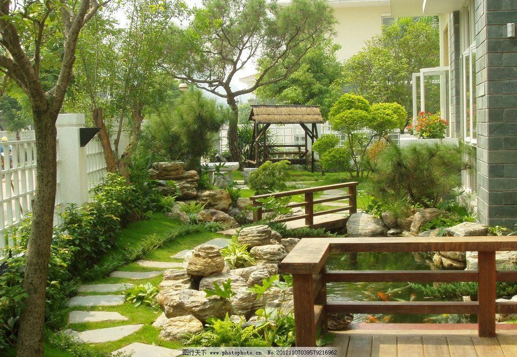 室内园林 园林景观 景观设计 庭院摄影 别墅庭院 矮柱灯 鱼池 水池