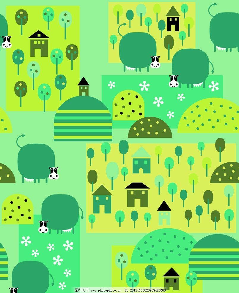 卡通动物 卡通 动物 房子 公园 花纹 底纹 背景 可爱 设计图案 童装