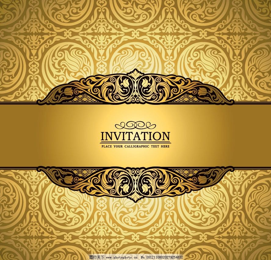 金色欧式花纹 无缝花纹 卡片图片