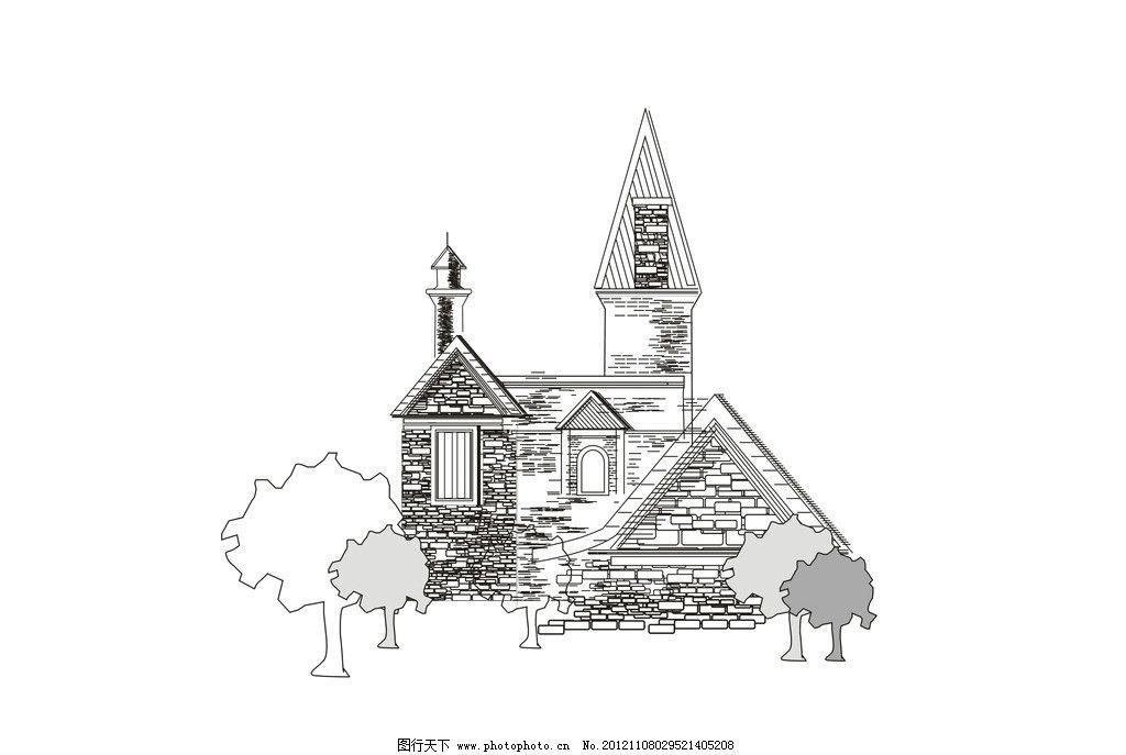 建筑手绘线描图片