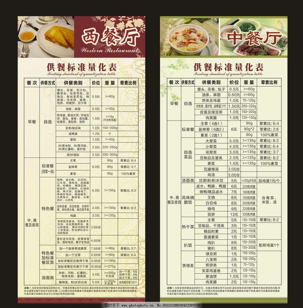 西餐厅 中餐厅 展架 供餐标准量化表 中式花纹 西方花纹 菜单菜谱图片