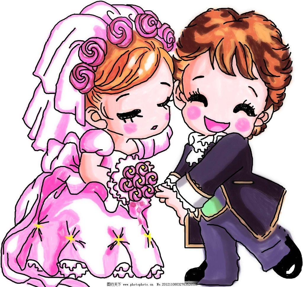 结婚 卡通结婚新娘 卡通新郎 鲜花 手绘情侣 人物 源文件