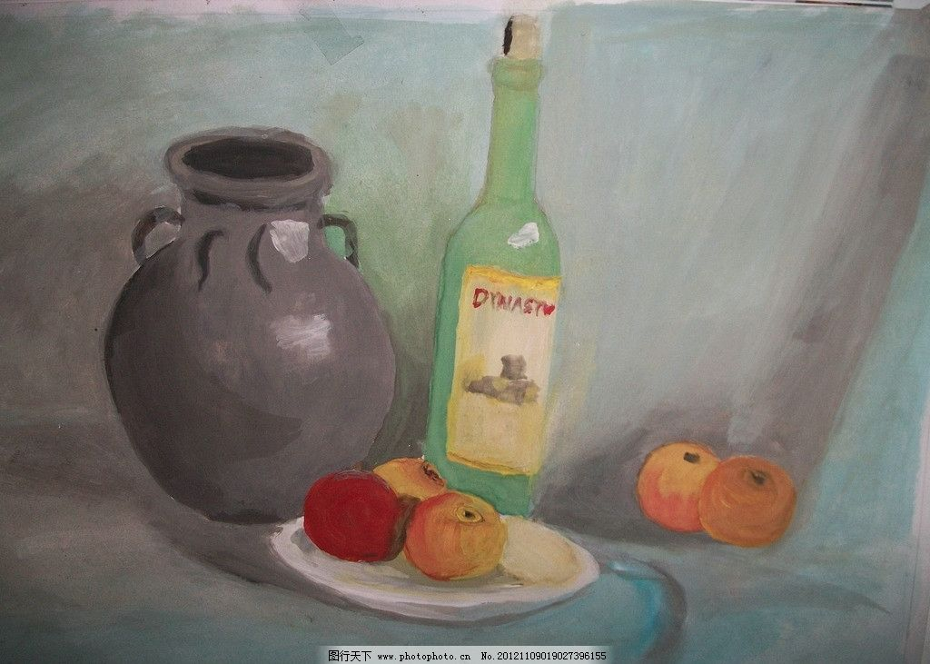 水粉静物画 坛子 瓶子 水果 盘子 静物 水彩 绘画 绘画书法 文化艺术