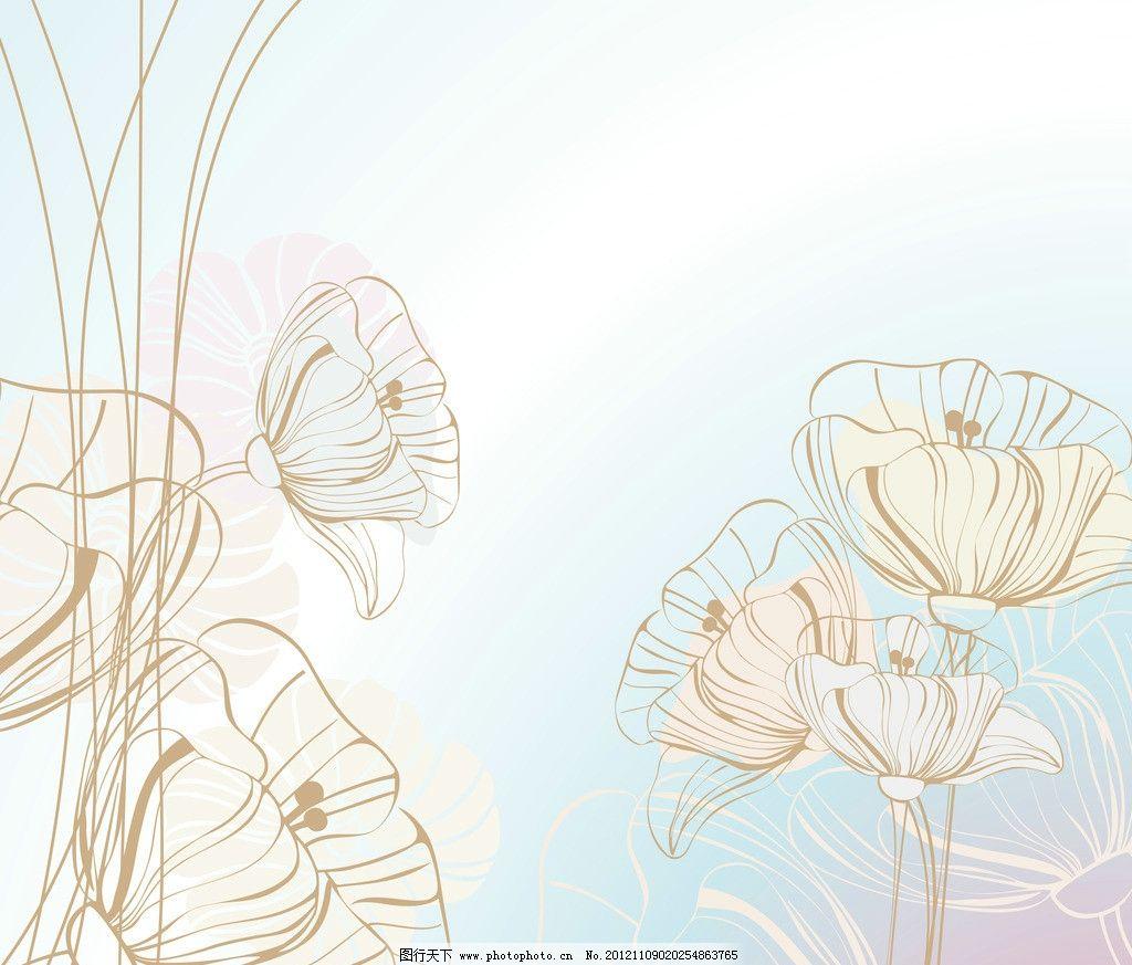 手绘花卉花朵背景 手绘 花卉 花朵 花纹 底纹 背景 线描 素描 线条